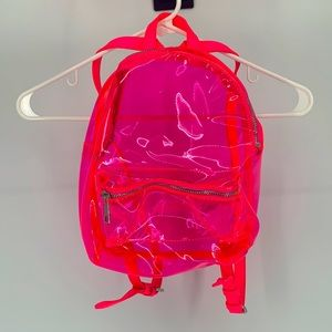Forever21 Backpack Clear Plastic Pink Neon